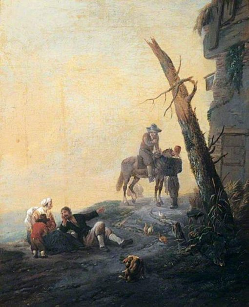 Figures Outside an Inn | Johannes Lingelbach | Oil Painting