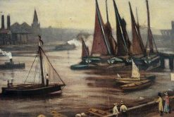 Barges on the Thames | Walter Greaves | Oil Painting