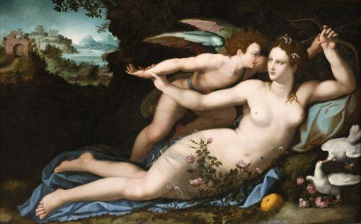 Venus Disarming Cupid   Alessandro Allori   Oil Painting
