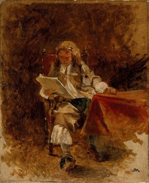 Study of a Seated Cavalier Reading | Jean Louis Ernest Meissonier | Oil Painting