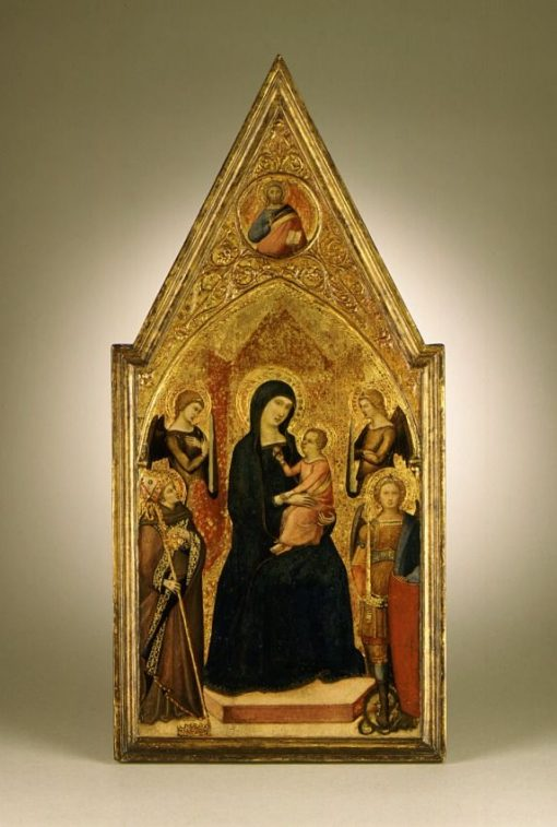 Virgin and Child with Saints Louis of Toulouse and Michael   Luca di TommE   Oil Painting