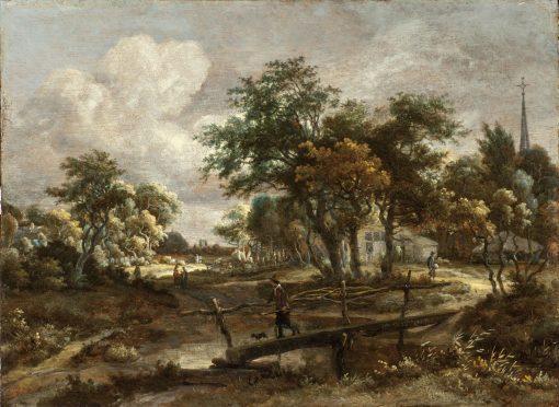 Landscape with a Footbridge | Meindert Hobbema | Oil Painting