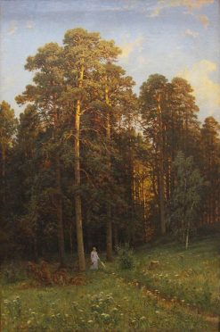 Woman Walking in a Pine Forest Clearing | Ivan Ivanovich Shishkin | Oil Painting