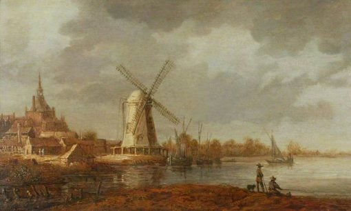 River Scene with a View of Dordrecht and a Windmill | Aelbert Cuyp | Oil Painting