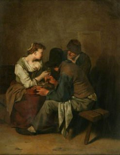 Three Peasants Seated Together | Cornelis Pietersz Bega | Oil Painting