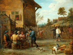 Peasants Playing Cards and Skittles in a Yard | David Teniers II | Oil Painting