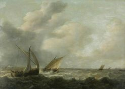 Fishing Boats in a Choppy Sea | Hendrik Martensz. Sorgh | Oil Painting