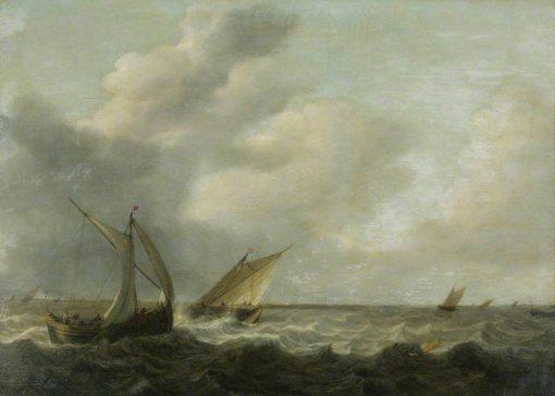 Fishing Boats in a Choppy Sea | Hendrik Martensz. Sorgh | Oil Painting