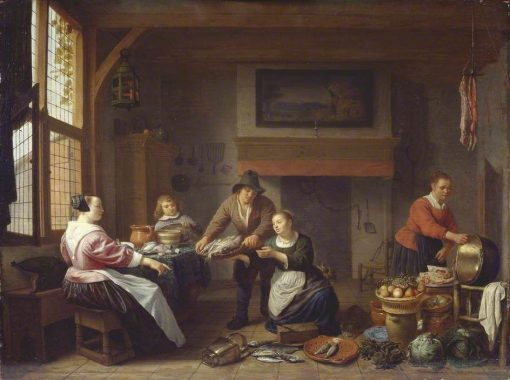 Kitchen Interior with a Man Bringing Fish for Sale | Hendrik Martensz. Sorgh | Oil Painting
