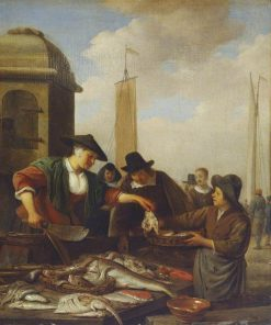 A Fish Stall by a Harbour | Hendrik Martensz. Sorgh | Oil Painting