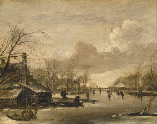 Winter Scene with Thatched Cotages by a River spanned by a Wooden Bridge   Jan van de Cappelle   Oil Painting