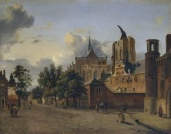 A Street in Cologne with the Unfinished Cathedral in the Centre | Jan van der Heyden | Oil Painting