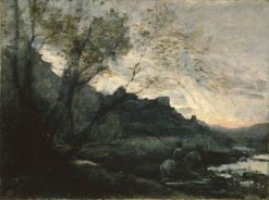 Rider in the Water | Jean Baptiste Camille Corot | Oil Painting