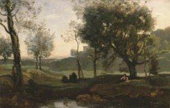Sunset: Figures under Trees | Jean Baptiste Camille Corot | Oil Painting
