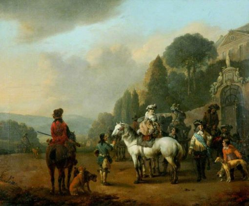 A Party of Falconers Outside the Gates to a Ch?teau | Johannes Lingelbach | Oil Painting