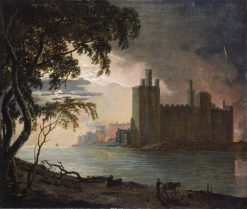 Caernarvon Castle by Moonlight   Joseph Wright of Derby   Oil Painting