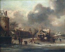 Skating Scene: Figures on the Ice near the Walls of a Town | Klaes Molenaer | Oil Painting
