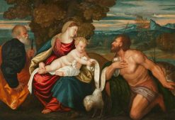 The Holy Family with Saint John the Baptist | Paris Bordone | Oil Painting