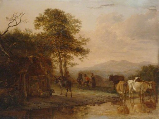 Evening Landscape with Cattle and Peasants Dancing to the Sound of a Pipe   Paulus Potter   Oil Painting