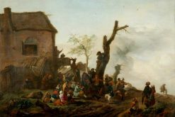 Landscape with Peasants Merry-making | Philips Wouwerman | Oil Painting