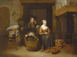 A Family Seated Round a Kitchen Fire | Quiringh van Brekelenkam | Oil Painting