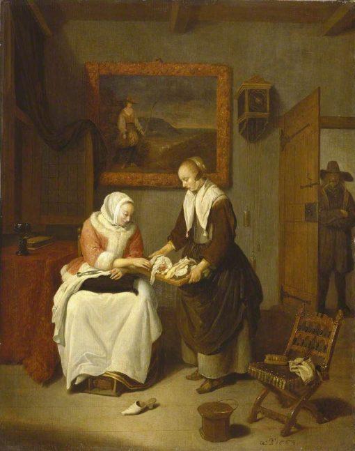 Interior with a Lady Choosing Fish | Quiringh van Brekelenkam | Oil Painting