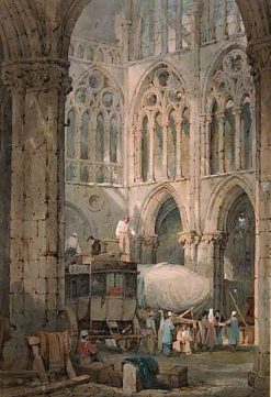 Church Ruin at Tours: Loading Diligence | Samuel Prout | Oil Painting