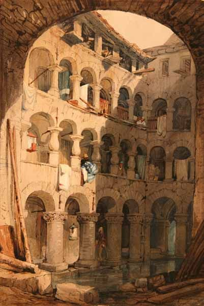 Inner Court with Arches and Water | Samuel Prout | Oil Painting