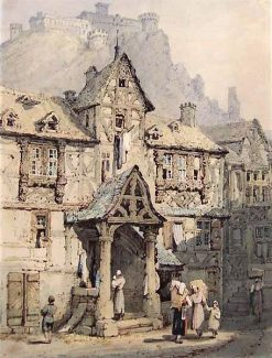 Swiss Cottage at Foot of a Hill Surmounted by a Fortress | Samuel Prout | Oil Painting