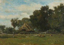 Ferme sous les arbres (Farm under Trees) | Willem Roelofs | Oil Painting