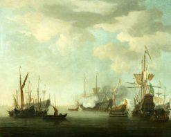 Men of War at Anchor in a Calm | Willem van de Velde the Younger | Oil Painting