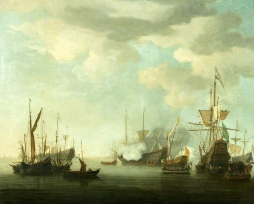 Men of War at Anchor in a Calm   Willem van de Velde the Younger   Oil Painting