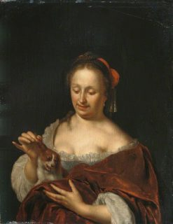 A Lady Seated Holding a Small Dog | Willem van Mieris | Oil Painting
