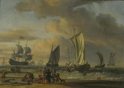 Beach Scene with Ships | Abraham Jansz. Storck | Oil Painting