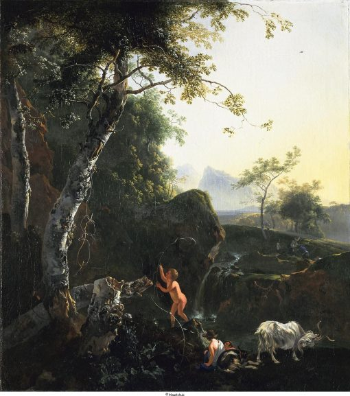 Figures and Goat by a Waterfall | Adam Pynacker | Oil Painting