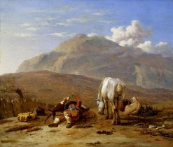 Italian Landscape with a Young Shepherd Playing with his Dog | Carel Dujardin | Oil Painting