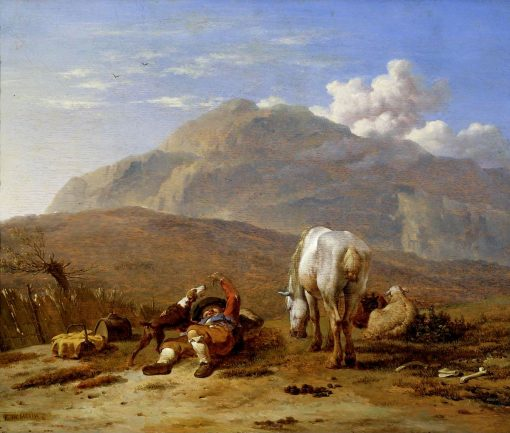 Italian Landscape with a Young Shepherd Playing with his Dog   Carel Dujardin   Oil Painting