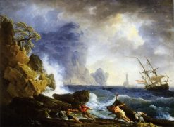 An Italian Harbour in Stormy Weather | Claude Joseph Vernet | Oil Painting