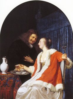 The Oyster Meal   Frans van Mieris the Elder   Oil Painting