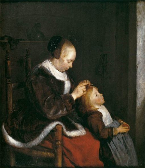 A Mother Combing the Hair of her Daughter(also known as Hunting for Lice) | Gerard ter Borch | Oil Painting