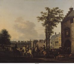 A Hunting Party near the Hofvijver in The Hague | Gerrit Adriaensz.Berckheyde | Oil Painting