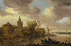 View of a River with a Church and Farm | Jan van Goyen | Oil Painting