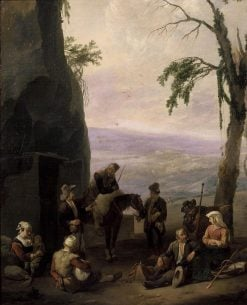 Italian Landscape with Resting Peasants | Johannes Lingelbach | Oil Painting