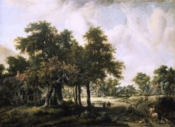 Wooded Landscape with Cottages | Meindert Hobbema | Oil Painting