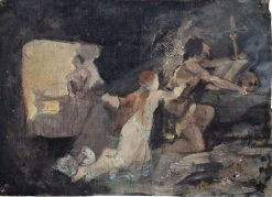 Compositional Study for The Temptation of St. Anthony | Carl Gutherz | Oil Painting