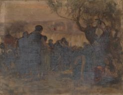 Crowd Gathered on a Riverbank | Carl Gutherz | Oil Painting