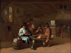 A Tavern Interior with Men Playing Cards | Job Adriaensz. Berckheyde | Oil Painting