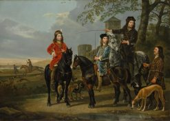 Equestrian Portrait of Cornelis and Michiel Pompe van Meerdervoort with their Tutor and Coachman | Aelbert Cuyp | Oil Painting