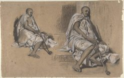 Two Studies of a Seated Arab with a Pipe | Alexandre Gabriel Decamps | Oil Painting