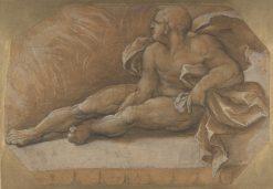 Nude Male Figure Seated on the Ground   Amico Aspertini   Oil Painting